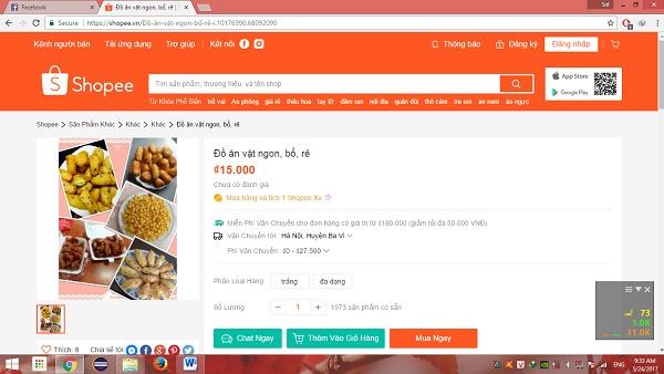 Đăng tin bán đồ ăn vặt lên Shopee