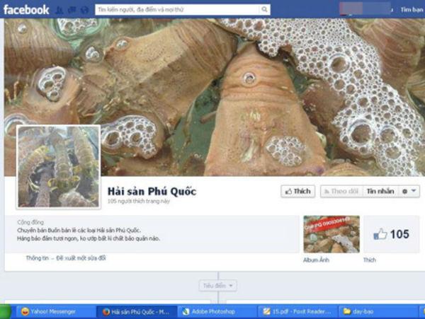 Một trang bán hải sản trên Facebook
