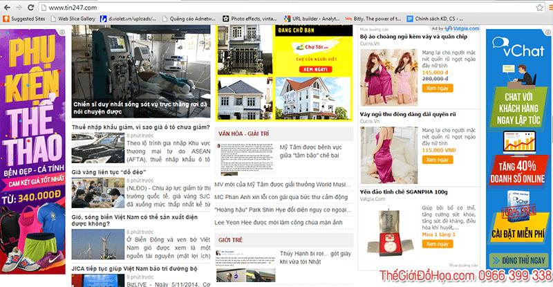 Rất nhiều thông tin quảng cáo xuất hiện trên các website